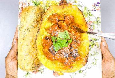 Meatless Monday! Spaghetti Squash with Eggplant Marinara