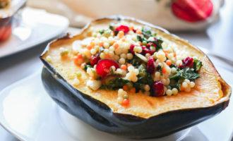 Super Easy Vegan - Friendly Couscous and Kale stuffed Acorn Squash