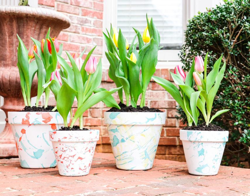 Rosalynn Daniels Marble Flower Pots