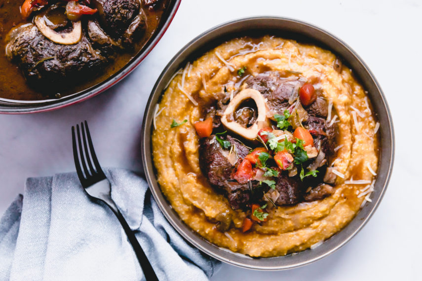 Beef Shank Osso Bucco in grey bowl and black fork