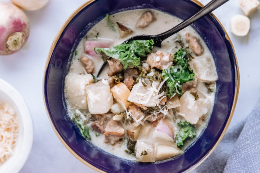 Zuppa Toscana with Turnips and Parsnips