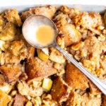 Apple Walnut Vegan Bread Pudding with Maple Bourbon Glaze