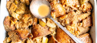 Apple Walnut Vegan Bread Pudding with Maple Bourbon Glaze