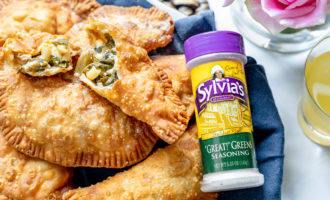 Soul food Fried Empanadas with Sylvial's soul food great greens seasoning