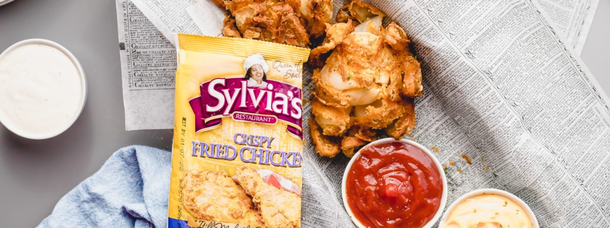 Easy Blooming Onion with Sylvia's Soulfood Crispy Fried Chicken Mix