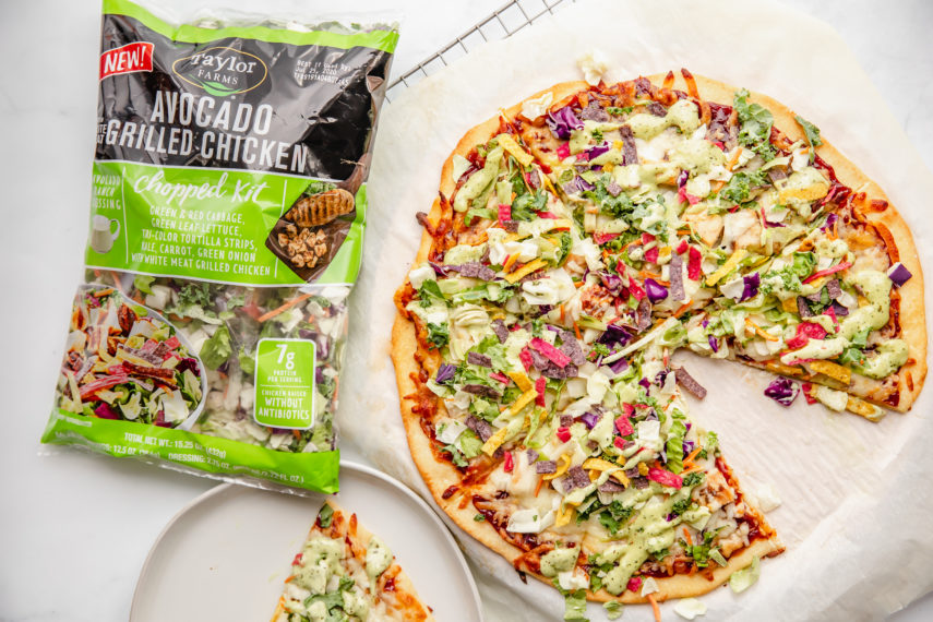 BBQ Pizza topped with Taylor Farms Avocado Grilled Chicken Kit