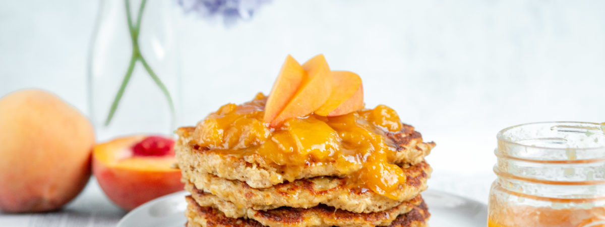 Cinnamon Oatmeal Pancake with Peach Compote