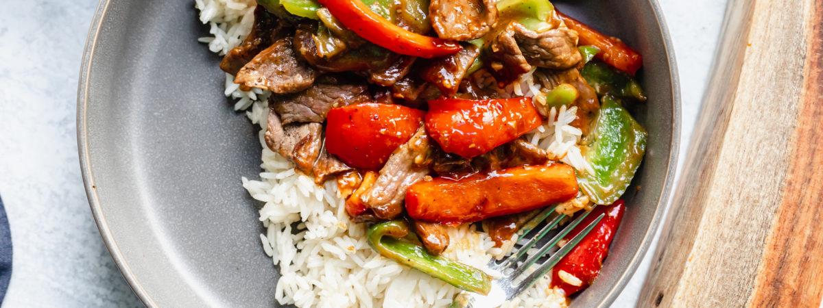 One Skillet Pepper Steak