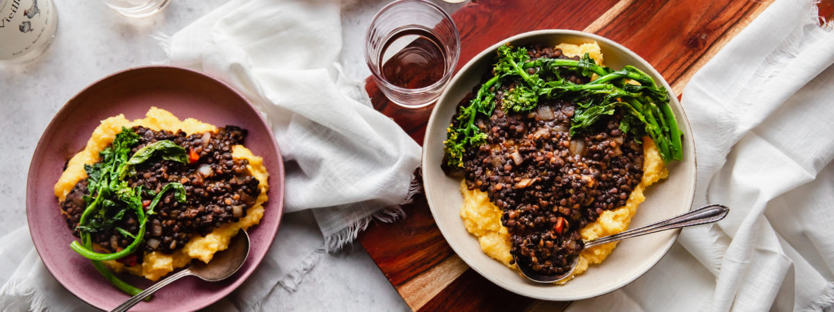 BBQ Lentils over Cheese Grits