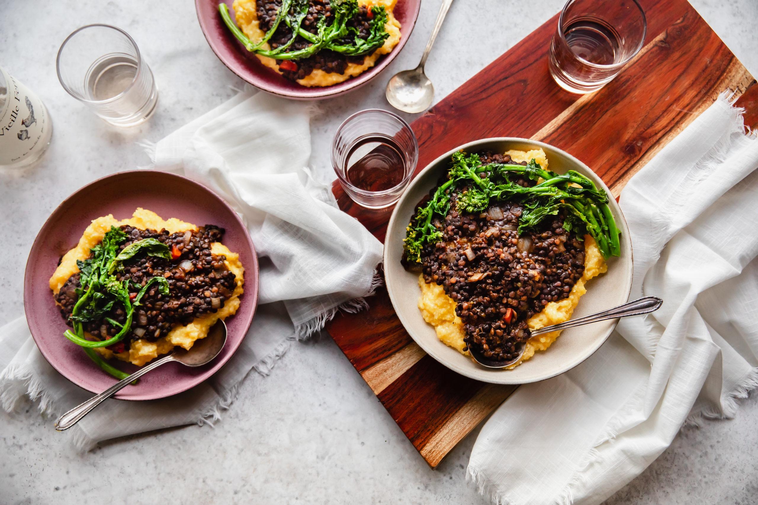 BBQ Lentils over Cheese Grits | Rosalynn Daniels