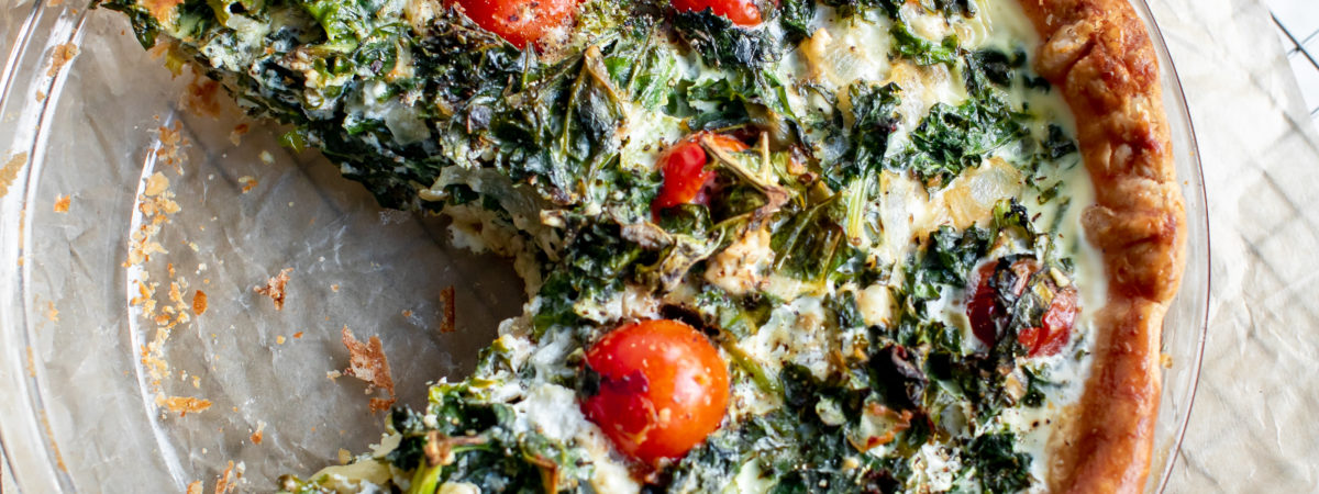 Egg White Quiche with Kale, Tomatoes, and Feta
