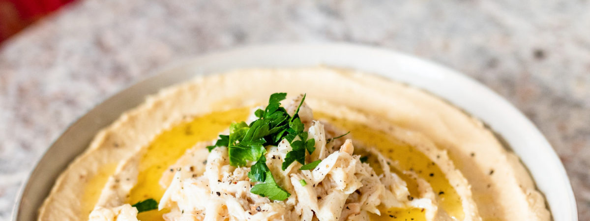 Lemon Garlic Hummus with Butter Poached Crab